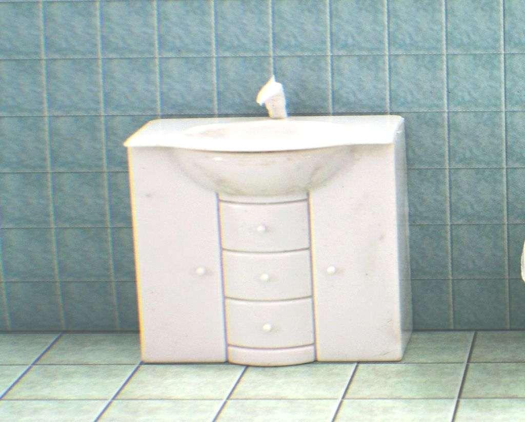 """ארון לשירותים כולל כיור קנ""""מ 1:25"""