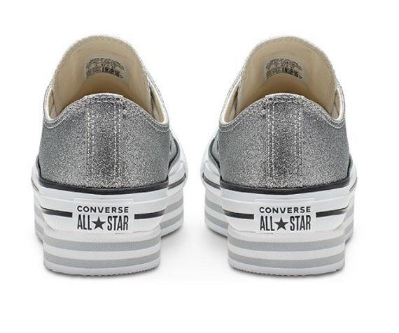 אולסטאר פלטפורמה כסף מנצנץ נשים Converse Shiny Metal Platform Silver