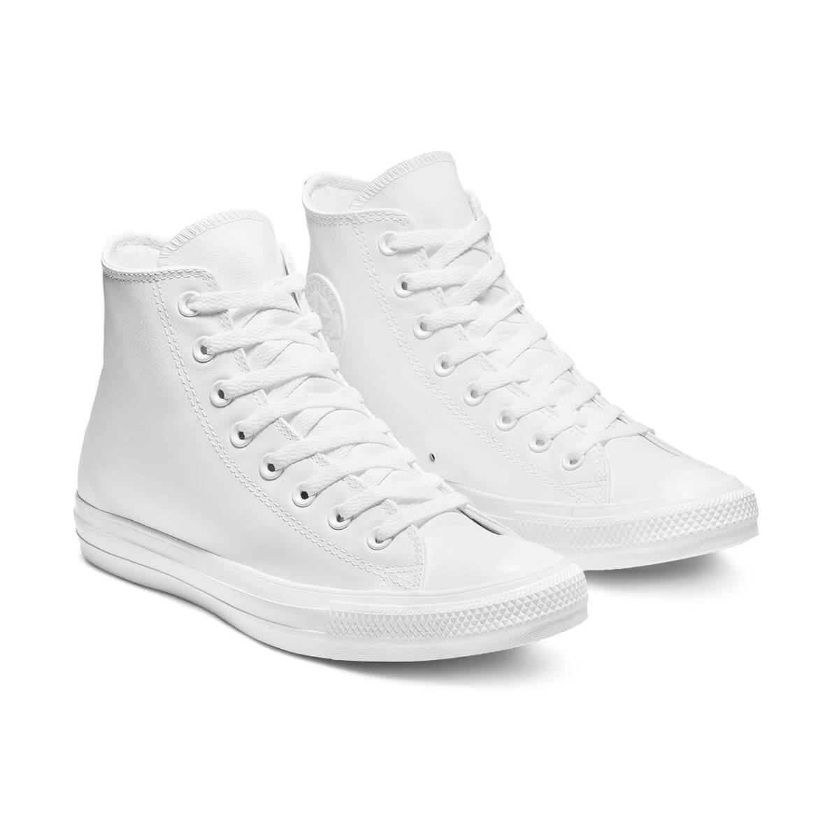 נעלי אולסטאר עור לבן נשים גברים Converse White Leather