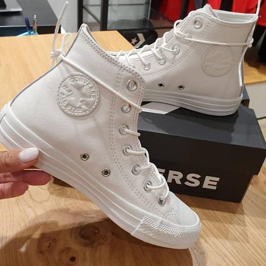 נעלי אולסטאר עור לבן וינטג' נשים Converse White Vintage Leather
