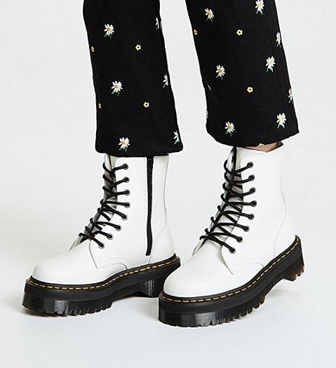 נעלי דוקטור מרטינס פלטפורמה לבן נשים Doctor Martens Jadon Platform