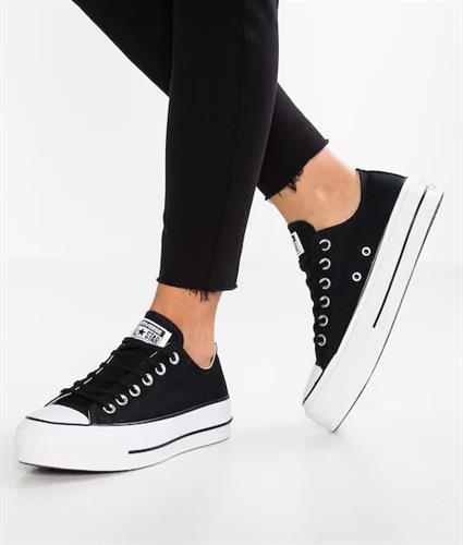 נעלי אולסטאר פלטפורמה בד נשים Converse Platform Black