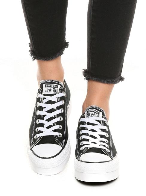 נעלי אולסטאר פלטפורמה שחור נשים Converse Platform Black