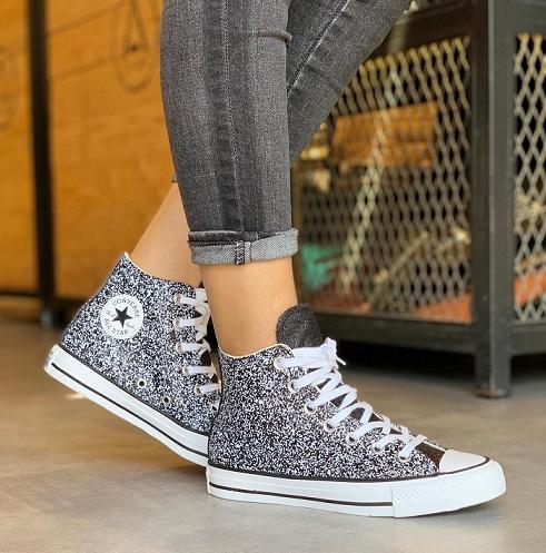 נעלי אולסטאר מנצנץ נצנצים נשים Converse