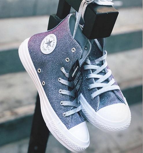 נעלי אולסטאר מנצנץ נצנצים נשים Converse Pure Platinum