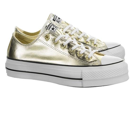 נעלי אולסטאר פלטפורמה זהב נשים Converse Metal Platform Gold - תמונה 2