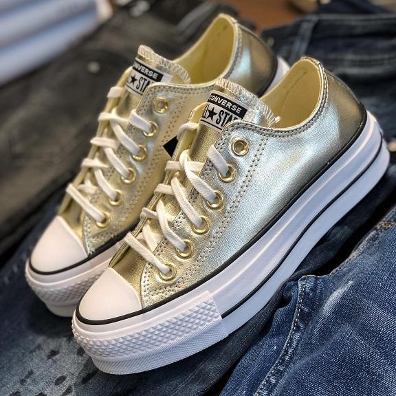 נעלי אולסטאר פלטפורמה זהב נשים Converse Metal Platform Gold