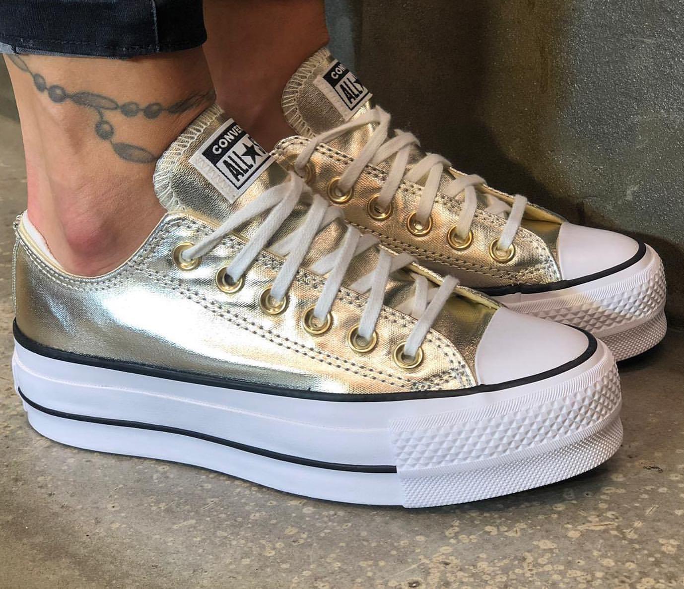 נעלי אולסטאר פלטפורמה זהב נשים Converse Metal Platform Gold - תמונה 5