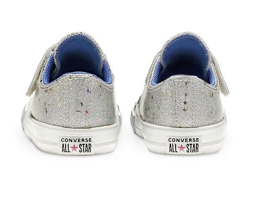 נעלי אולסטאר כסף תינוקות Converse Galaxy Glimmer - תמונה 4