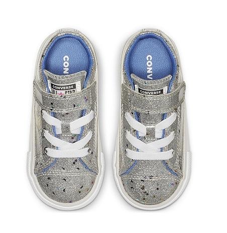 נעלי אולסטאר כסף תינוקות Converse Galaxy Glimmer - תמונה 3