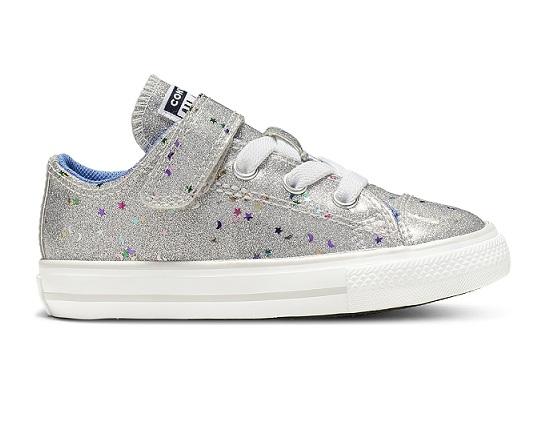 נעלי אולסטאר כסף תינוקות Converse Galaxy Glimmer - תמונה 1