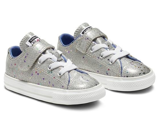 נעלי אולסטאר כסף תינוקות Converse Galaxy Glimmer - תמונה 2