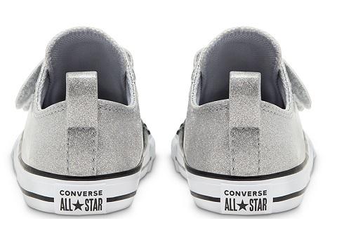 נעלי אולסטאר כסף תינוקות Converse Wolf Grey Glitter - תמונה 4
