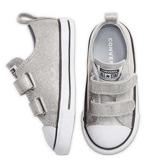 נעלי אולסטאר כסף תינוקות Converse Wolf Grey Glitter - תמונה 3