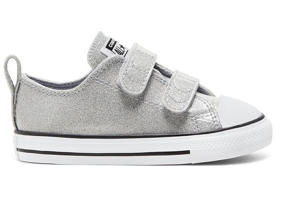 נעלי אולסטאר כסף תינוקות Converse Wolf Grey Glitter - תמונה 2
