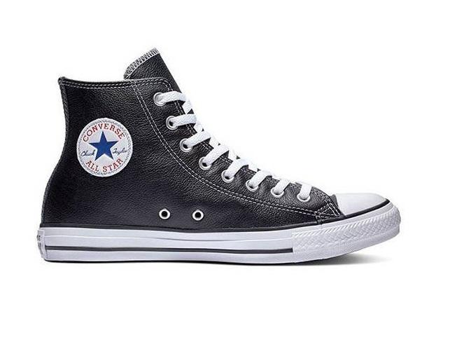 נעלי אולסטאר עור שחור גבוה נשים גברים Converse Leather Black