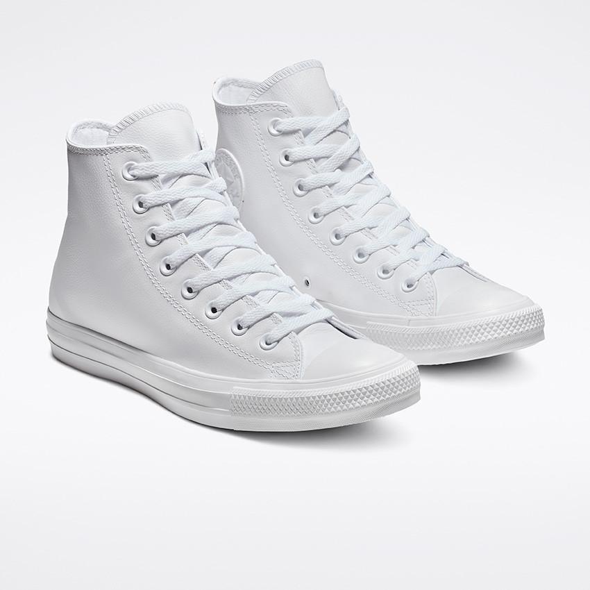 נעלי אולסטאר עור לבן נשים גברים Converse Leather White Mono - תמונה 6