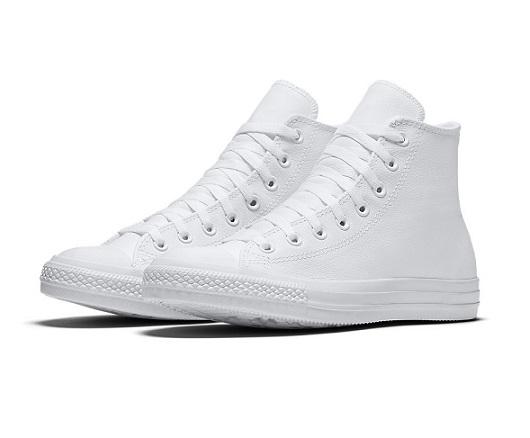 נעלי אולסטאר עור לבן נשים גברים Converse Leather White Mono
