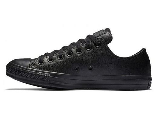 נעלי אולסטאר עור שחור נשים גברים Converse Leather Black Mono