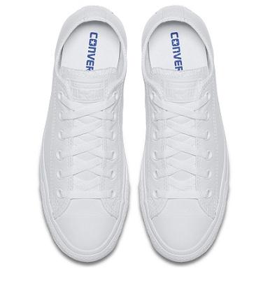 נעלי אולסטאר עור לבן נשים גברים Converse Leather White Mono - תמונה 3
