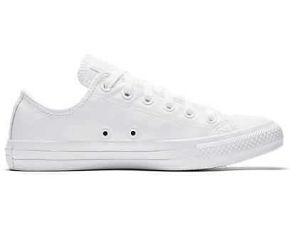 נעלי אולסטאר עור לבן נשים גברים Converse Leather White Mono - תמונה 2