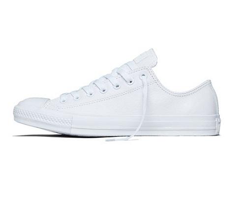 אולסטאר עור לבן נשים גברים Converse Leather White Mono