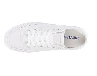 נעלי אולסטאר לבן חלק נשים גברים Converse White Mono