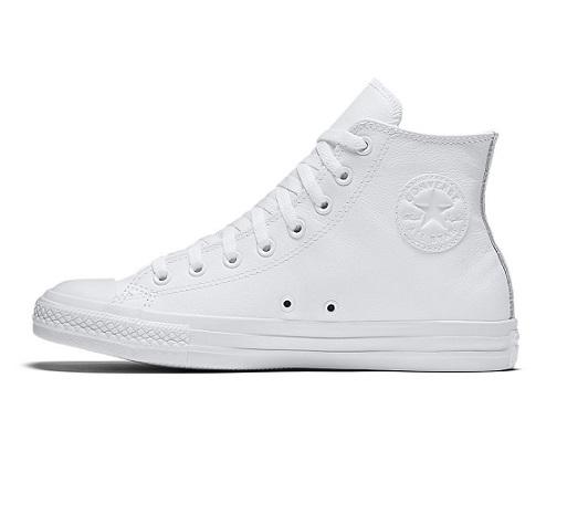 נעלי אולסטאר עור לבן חלק גבוה נשים גברים Converse White Mono Leather