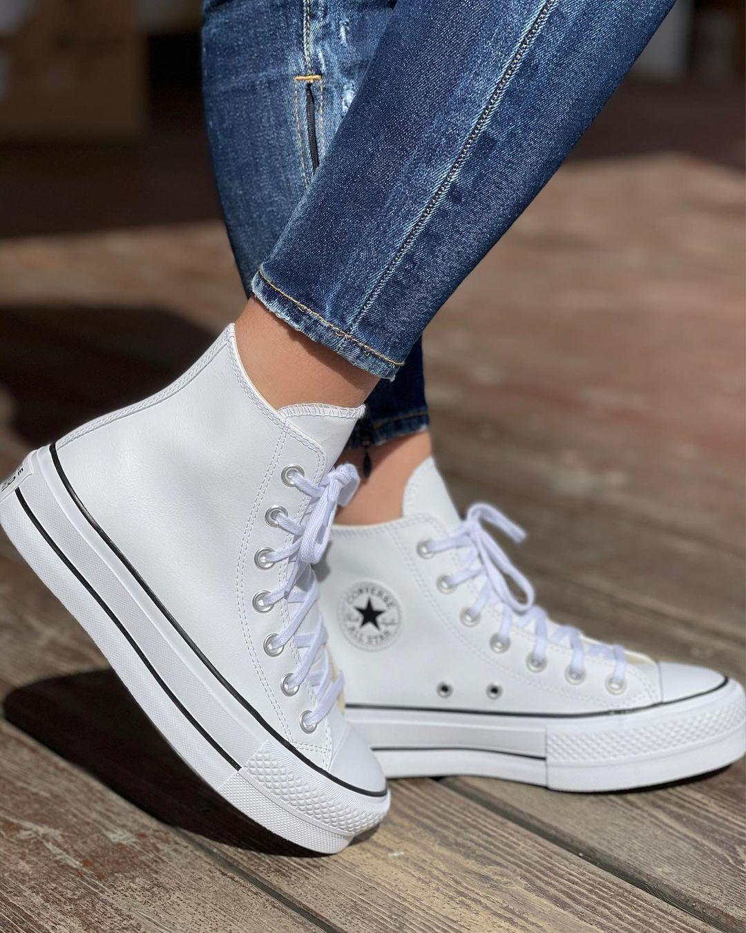 נעלי אולסטאר פלטפורמה עור גבוה נשים Converse Platform Leather High Top