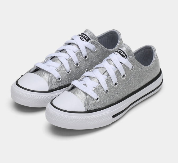 נעלי אולסטאר ילדות כסף מנצנץ Converse Wolf Grey Glitter