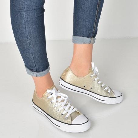נעלי אולסטאר זהב מנצנץ מטאלי נשים Converse Ombre Metallic