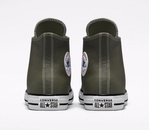 נעלי אולסטאר עור ירוק חאקי גבוה Converse Leather Cargo Khaki