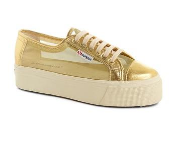 נעלי סופרגה פלטפורמה זהב נשים Superga Platform Gold