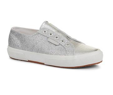 נעלי סופרגה ללא שרוכים כסף נשים Superga Microgliter