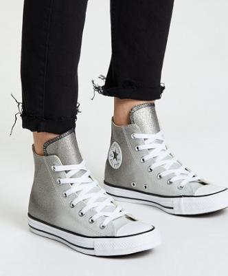 נעלי אולסטאר כסף מטאלי מנצנץ נשים Converse Ombre Silver