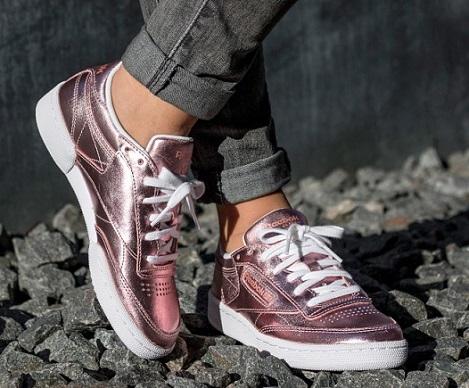 נעלי ריבוק ורוד מטאלי אופנה נשים Reebok Club C 85 S Shine