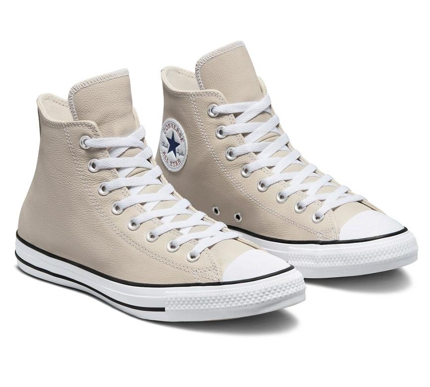 נעלי אולסטאר עור בז' גבוה גברים Converse Leather String