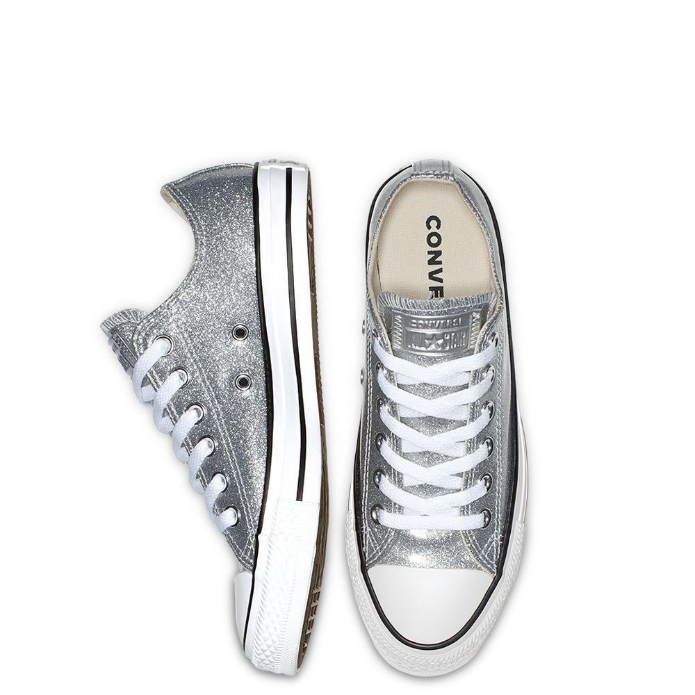 נעלי אולסטאר כסף מטאלי נשים Converse Silver Glitter - תמונה 2