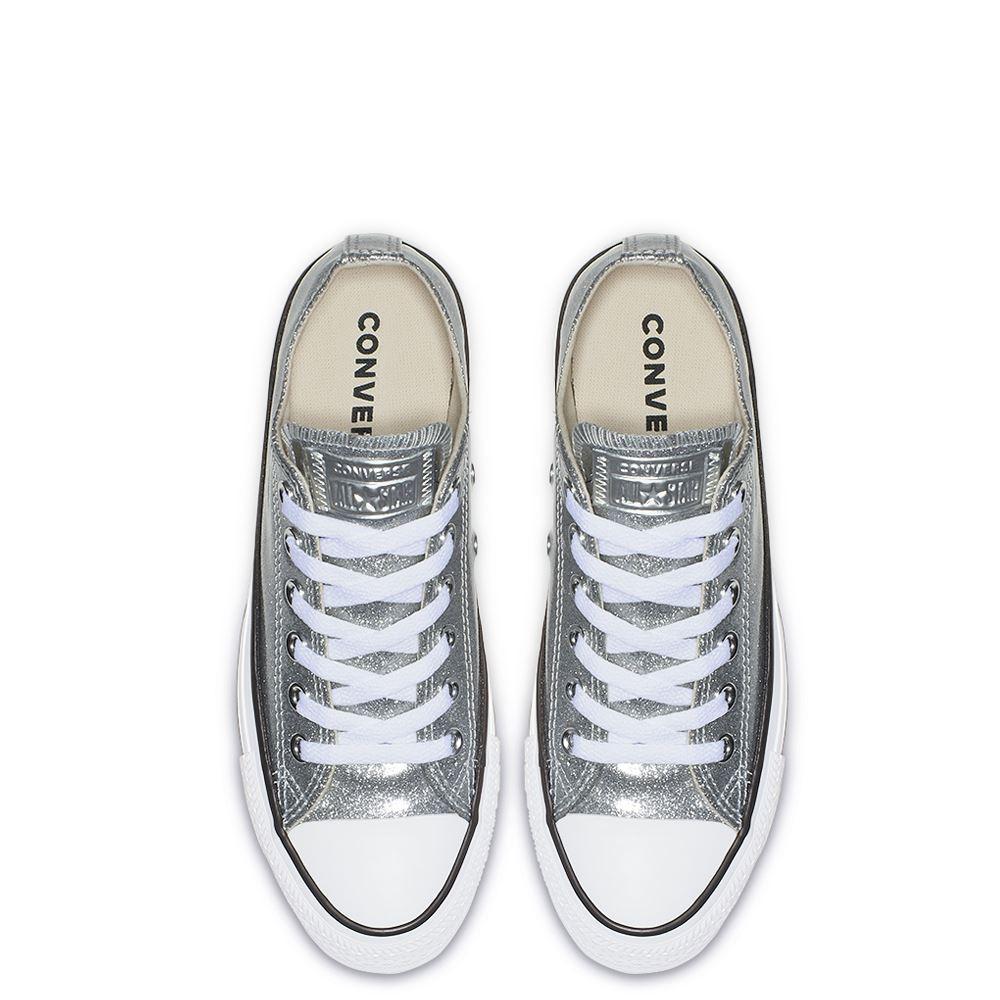 נעלי אולסטאר כסף מטאלי נשים Converse Silver Glitter - תמונה 3