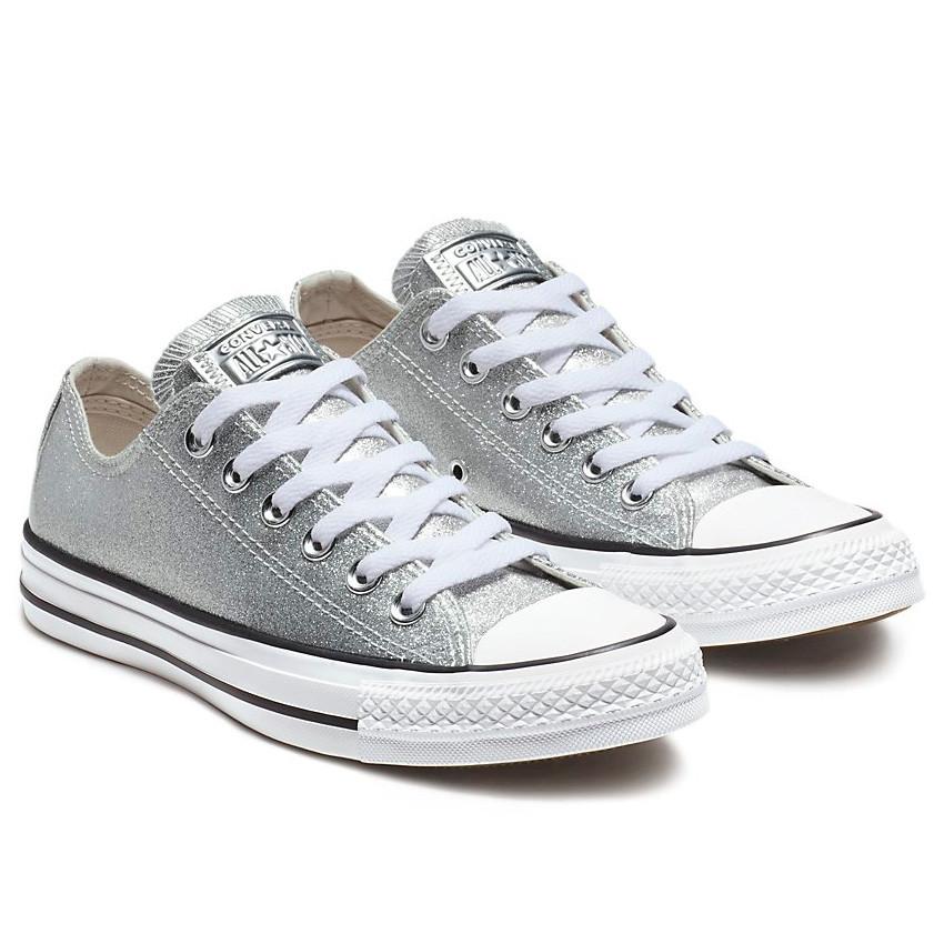 נעלי אולסטאר כסף מטאלי נשים Converse Silver Glitter - תמונה 1