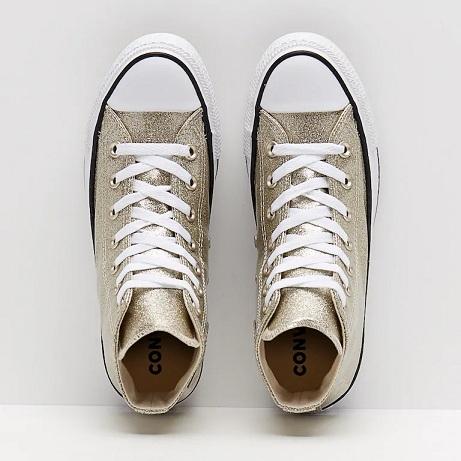 נעלי אולסטאר זהב מטאלי נשים Converse Glitter Gold - תמונה 4