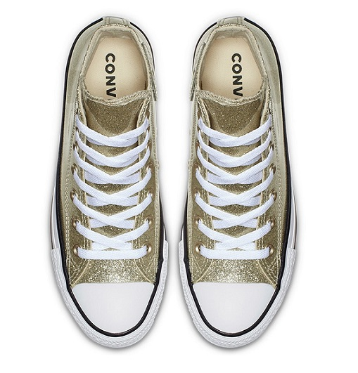 נעלי אולסטאר זהב מטאלי מנצנץ נשים Converse Glitter Gold - תמונה 4
