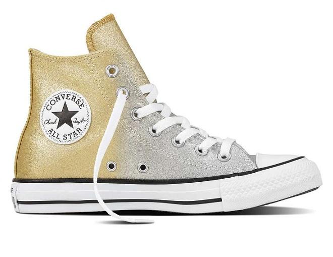 נעלי אולסטאר כסף זהב מטאלי מנצנץ נשים Converse Ombre Silver Gold