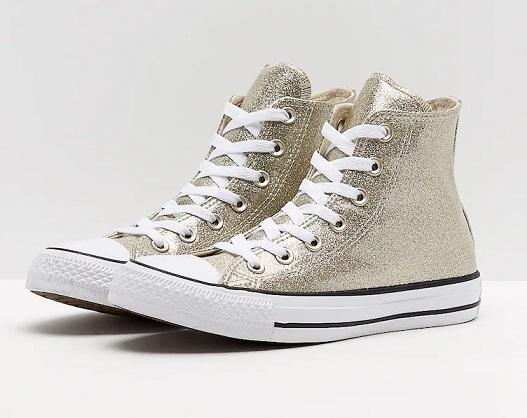 נעלי אולסטאר זהב מטאלי נשים Converse Glitter Gold - תמונה 2