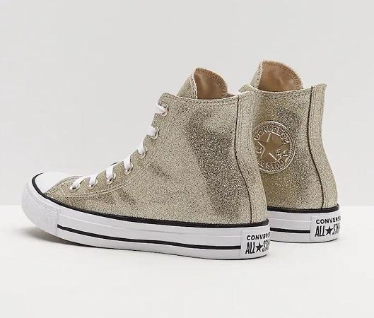 נעלי אולסטאר זהב מטאלי נשים Converse Glitter Gold - תמונה 3