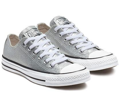 נעלי אולסטאר כסף מטאלי נשים Converse Glitter Silver