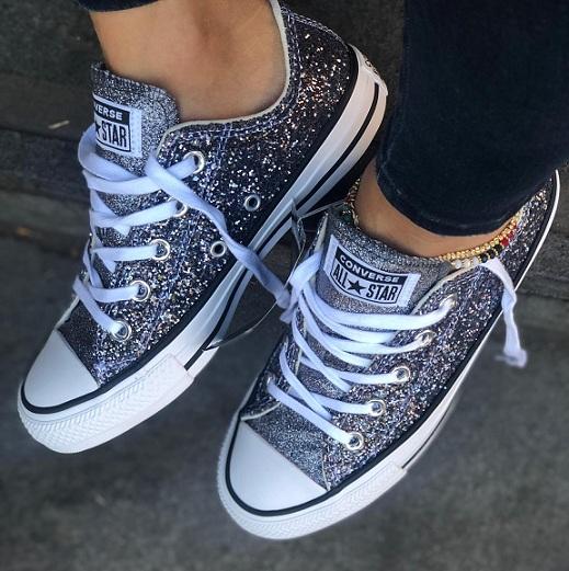 נעלי אולסטאר כסף נצנצים נשים Converse Galaxy Dust