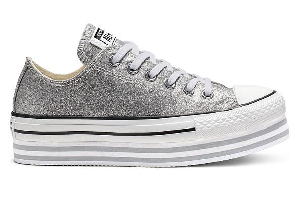 נעלי אולסטאר פלטפורמה כסף מנצנץ נשים Converse Shiny Metal Platform Silver