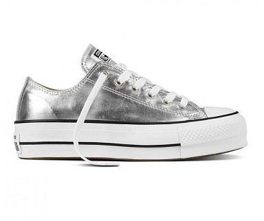נעלי אולסטאר פלטפורמה כסף נשים Converse Platform Silver