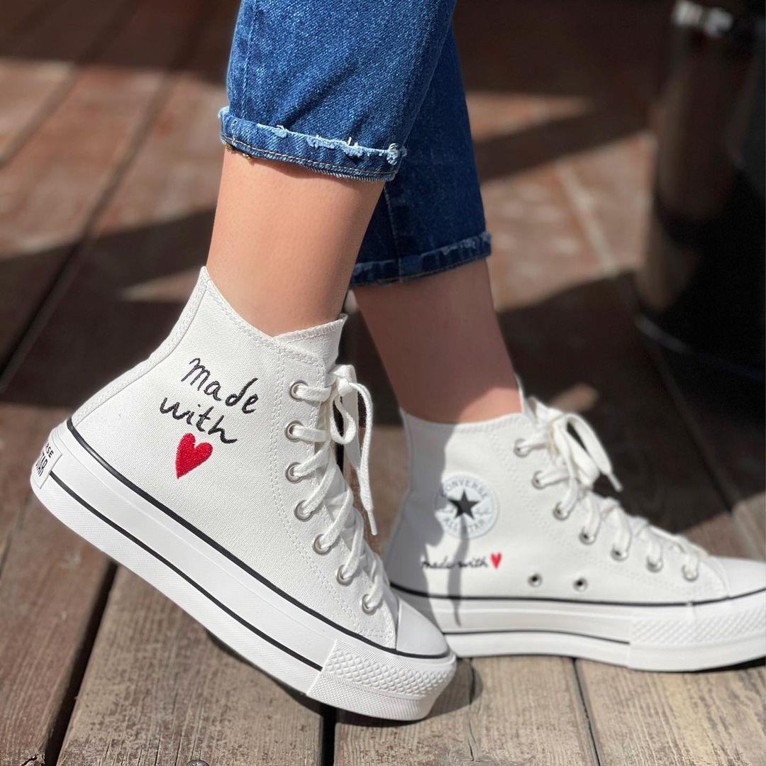 נעלי אולסטאר פלטפורמה גבוה חוט האהבה נשים Converse Love Thread Platform